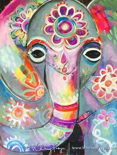 Original acrylic painting by Whitney Freya. Indian Elephant, Elephant Love, Elephant Art, Elephant Stuff, Baby Elephants, Bohemian Painting, Primary School Art, Evil Eye Art, Soul Art