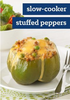 Slow-Cooker Stuffed Peppers – This slow-cooker recipe takes just 15 minutes of prep in the morning—so you can come home to a cheesy and tender stuffed pepper dish in the evening.