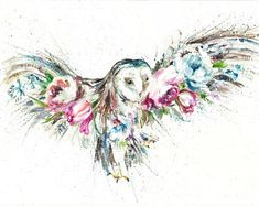 Wildlife owl floral greetings card ,blank Watercolour art print card designed by artist Nicola Jane Rowles . Watercolour nature prints - Perfect for any occasion. Printed from my original watercolours on a watercolour style high quality - Owl Tattoo Design, Tattoo Designs, Tattoo Owl, White Owl Tattoo, Tattoo Ideas, Watercolor Owl Tattoos, Owl Watercolor, Owl Art, Bird Art