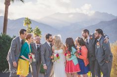 colorful wedding, colorful bridal party, palm springs wedding, saguaro hotel, saguaro hotel palm springs, saguaro wedding