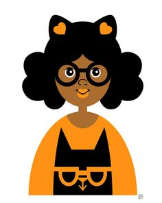 Hey, I found this really awesome Etsy listing at https://www.etsy.com/listing/200603764/girl-16-halloween-cat-girl-print-orange