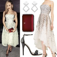 Peyton List attended the InStyle Oscars Viewing Party wearing a Cristina Ottaviano Fall/Winter 2015 High-Low Dress (not available online), Yliana Yepez Grace Satin Wine Minaudière ($1,250.00), Brian Atwood sandals (not available online), Swarovski Edify Pierced Earrings ($89.00), and other jewelry from Le Vian. Get the look for less with sandals from Michael Antonio ($14.99+, pictured).