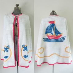 Nautical Chenille Cape Shawl Vintage 1930s 1940s Sailboats and