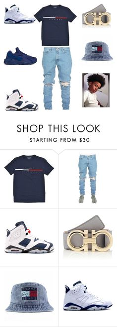 """tommy hilifiger"" by aleisharodriguez ❤ liked on Polyvore featuring Salvatore Ferragamo, Tommy Hilfiger, Retrò, NIKE, men's fashion and menswear"