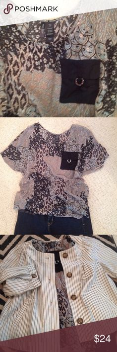 Polyester Top Beautiful top in black, light and med blues. Elastic in lower waist but very loose. Silver metal on real front pocket. NWOT Bisou Bisou Tops Blouses