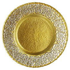 Bring timeless elegance to your tablescape with this eye-catching glass charger plate, showcasing a scrolling damask motif and a glamorous gold finish. ...