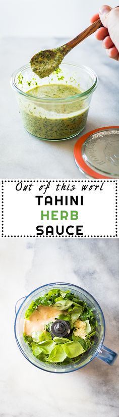 A recipe for an Out of This World Tahini Herb Sauce (basil parsley tahini garlic.) to spread over tacos pizza chicken shrimp eeeverything! Sauce Recipes, Real Food Recipes, Vegetarian Recipes, Cooking Recipes, Yummy Food, Healthy Recipes, Herb Sauce Recipe, Tofu Recipes, Recipes Dinner
