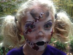 Face painting inspired by lisa joy young. Zombie rag doll. Costume for Halloween.