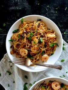 Soy Sauce Butter Pasta with Shrimp and Shiitakes by thewoksoflife.com