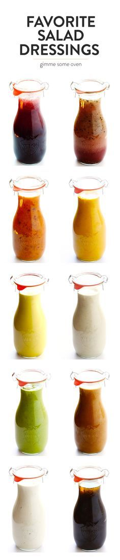 A collection of my 10 favorite everyday salad dressing recipes -- Greek Yogurt Caesar, Dreamy Tahini, Honey Mustard, Avocado Cilantro, Thai Peanut, Ginger Carrot, Honey Chipotle, Italian Red Wine Vinaigrette, Pomegranate Poppyseed, Maple Balsamic. All are easy to make, gluten-free, and SO delicious!! | gimmesomeoven.com #salad #dressing #recipe
