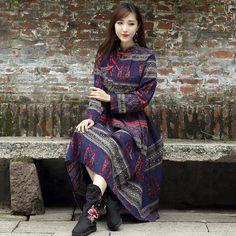 Fashion Fall Dress Cotton Linen Casual Ethnic Printed Maxi Dress Women Vintage Tunic Beach Vacation Boho Long Dress Oversize