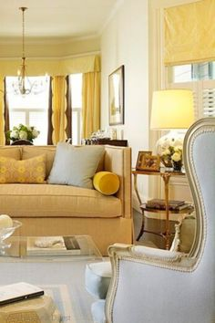 Have you seen this color combo before of soft butter yellow and robin's egg blue? Learn how to add the yellow aesthetic in your home decor and pair it with other colors, such as yellow and purple, yellow and blue, and more. Yellow paint, yellow walls, and even yellow wallpaper are trending, thanks to Gen Z Yellow. Learn how to incorporate yellow in your interior design on the Hadley Court blog. #yellowaesthetic #yellowpaint