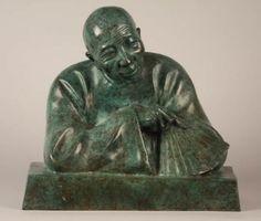 Gaston HAUCHECORNE Le sage Bronze à patine verte  Signé et numéroté 2/8. H. 29cm