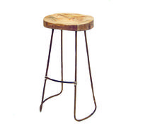 Ro Sham Beaux: Gavin Stool- 15.5l x 5.5w x 30h Wooden seat with iron leg and hemp accent. $274- $298. To order, call us at 843-641-7087.