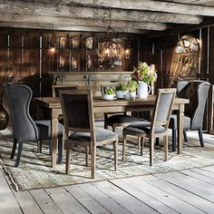 "Luciano 54"" Rectangle Dining Table With Refectory Leaves In Weathered   Extends to 94"" Arhaus Furniture"