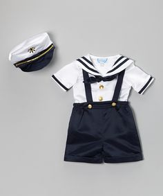 Adorable Angels New York Navy Nautical Satin Shortalls Set - Infant