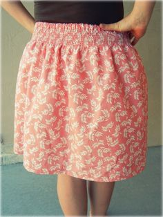 DIY shirred skirt...love these simple skirts!