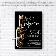 wine invitation, Wine birthday invitation, Aged to Perfection, Glitter birthday Invitation gathering Party invitation Design - card 350