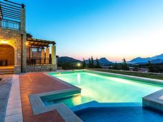 Rethymno villa rental - Great sunset views from the pool terrace! Private Pool, Thalia, Terrace, Swimming Pools, Villa, Sunset, Mansions, Park, Country