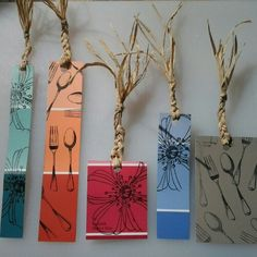 DIY: Paint Sample Stamped and Twine Bookmarks