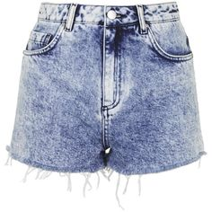 Debbie Acid Wash Denim Shorts by Topshop Archive (385 MXN) ❤ liked on Polyvore featuring shorts, bottoms, short, blue, embroidered shorts, denim shorts, jean shorts, acid shorts and short jean shorts