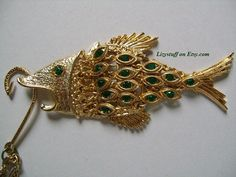 Vtg Gold Tone Articulated Figural BIG Fish W/Dangling by lizystuff