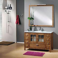 Mueble de baño Colonia 120 cm.  Fabricado en madera natural de pino, con una distribución practica y coqueta.  Calidad y diseño.