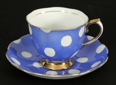 Vintage Royal Albert BLUE Polka Dot