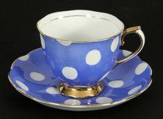 Vintage Royal Albert BLUE Polka Dot