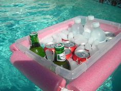 DIY pool cooler- cut a noodle and tie a rope through it, around a Rubbermaid bin.