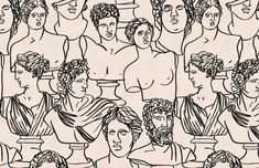 Black Line Drawing Greek God Statue Pattern Wallpaper Mural
