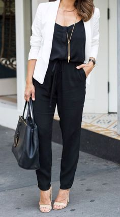 34dfc986cdec Fashionable Office Outfit White Blazer Plus Bag Plus Sandals Plus Black  Jumpsuit
