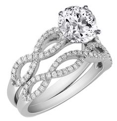 Engagement Ring - Infinity Bridal Set: Engagement Ring & Matching Wedding Ring in 14K White Gold - ES259BRBS