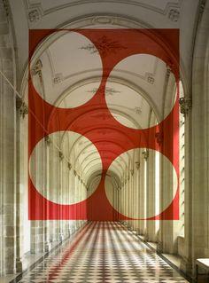 Felice Varini, quatre disques dans le rectangles, 2007