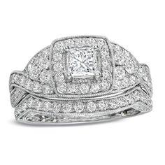 1-1/2 CT. T.W. Princess-Cut Diamond Vintage-Style Bridal Set in 14K White Gold - PLEASE!