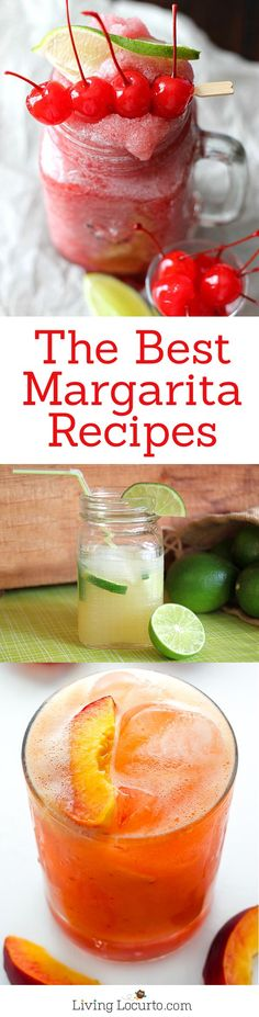 The Best Margarita Recipes ever! From Strawberry and Blackberry to Pineapple and Coconut, you'll find a frozen cocktail perfect for party drink or a hot summer day! LivingLocurto.com