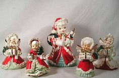 Vintage Napco Christmas Angel Shopper Figures