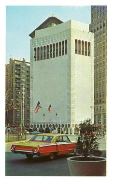 Edward Durell Stone's Gallery of Modern Art Building on Columbus Circle in 1964, New York
