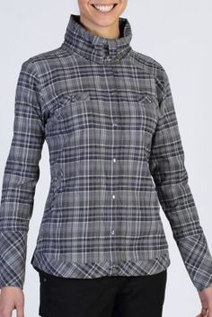 The Alba Plaid pulls double duty as a shirt and a lightweight jacket. A funnel neck style collar can be worn open or snapped closed for a variety of styling options.