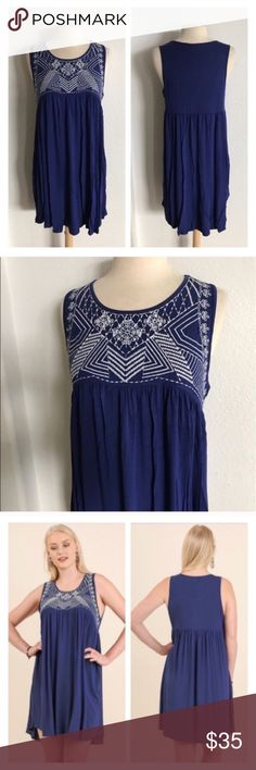 "(Plus) Blue dress 65% cotton/ 35% polyester. Super soft and flowy! Area under white detailing has no stretch, but the rest of the dress does. These are very true to size- I am a 2x/16 and the 2x fit me perfectly.  XL: L 37"" B 38"" 1x: L  38"" B 40"" ⭐️This item is brand new without tags 💲Price is firm unless bundled ✅Bundle offers Availability: XL•1x • 2•1 Dresses"