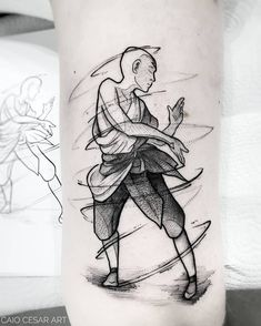 Avatar Aang, Avatar Legend Of Aang, Avatar The Last Airbender Art, Avatar Tattoo, Black Tattoos, Body Art Tattoos, Cool Tattoos, Tatoos, Human Body Art