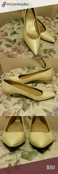 "Stuart Weitzman Kitten Heels Size 8 Stuart Weitzman Kitten Heels Size 8 in cream color. Heel is approximately 1.5"" Shoes are in good preowned condition. Stuart Weitzman Shoes Heels"