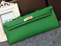 Limited Condition!Hermes Original Epsom Leather Kelly Cut Clutch Bag green 2016
