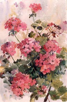 watercolor geraniums - Google Search