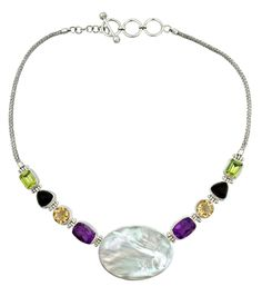 Sterling silver Mother of Pearl and semi precious stones Ladies Necklace