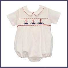 CUTE! Smocked Sailing Boys Bubble! Have to include the boys too I suppose LOL