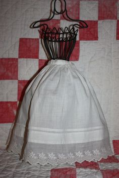 White Half Slip for Bisque Dolls Early 1900s