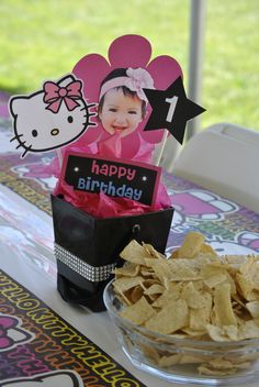 Hello Kitty 1st first birthday bday girl pink party idea ideas decorations bling picture cardstock table centerpiece centerpieces do it yourself diy
