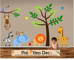 Reuseable Jungle Land Zoo Animals Baby Nursery by paintlessdeco