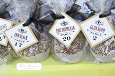 favor/escort card with caramel apples - if having a fall wedding in Door County, this would be perfect!